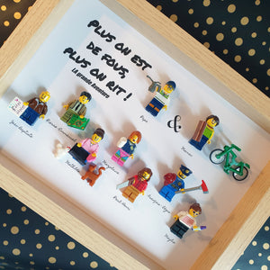 Family Portrait Frame in Lego bricks, customizable online, adults, children, babies, pets, ideal for birthday, Christmas, wedding, Valentine's Day - gift idea for parents, grandparents, friends