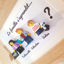 Load the image in the gallery, Personalized atypical pregnancy announcement godfather godmother baby Lego frame minifigure figurines family portrait