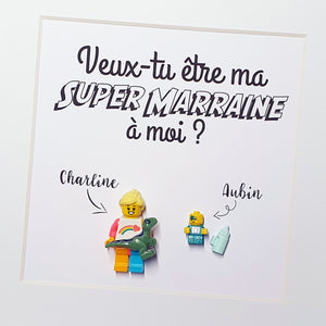 A frame to make a request for a future godfather future godmother or to announce your pregnancy - Customizable Lego table for an atypical request