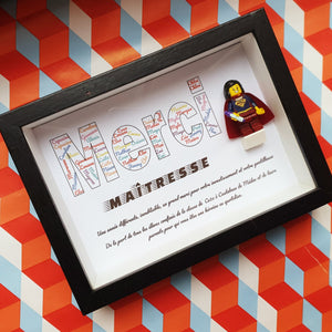 Lego frame gift master mistress minifigure super heroes custom list children atypical touching touching customizable personalized geek Felie's Portraits