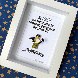 Original gift for handyman - If Grandpa can't fix it, nobody can - Personalized Lego frame