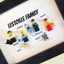 Upload the image to the gallery, A representation of the original family made from Lego bricks, an original customizable family painting