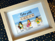 Upload the image to the gallery, A portrait made from Lego type bricks, incorporating scrabble letters and a souvenir photo of your vacation!