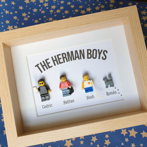 Representation of the family in the form of a customizable family table in Legos - Hockey geek gamer café chat