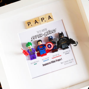 The Portraits of Felie - A frame portrait for Father's and Mother's Day with Lego superman Ironman Joker Batman superhero minifigures