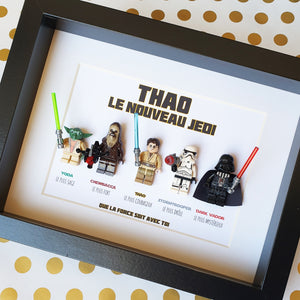 An original gift for a child fan of Star Wars customizable frame in Lego