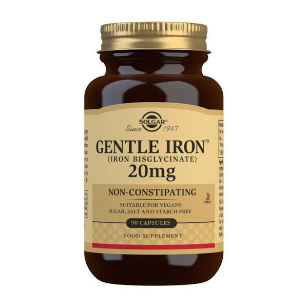 Solgar Gentle Iron (Iron Bisglycinate) 20 mg Vegetable Capsules