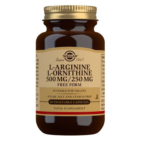 Solgar L-Arginine 500 mg / L-Ornithine 250 mg Vegetable Capsules - Pack of 50