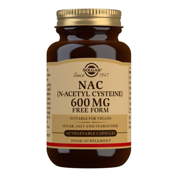 Solgar NAC (N-Acetyl-L-Cysteine) 600 mg Vegetable Capsules - Pack of 60 (4743840956475)