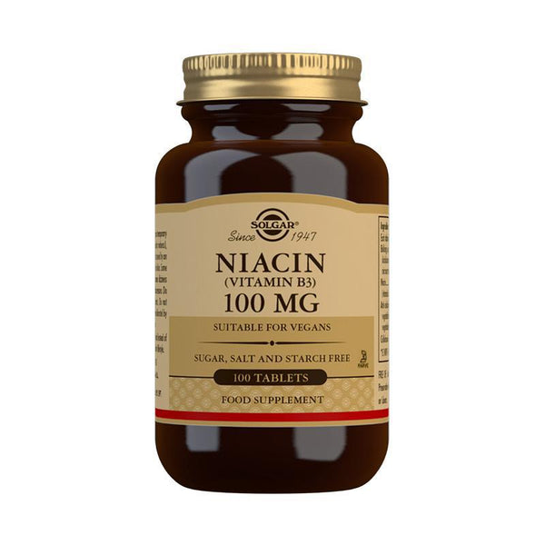 Solgar Niacin (Vitamin B3) 100 mg Tablets - Pack of 100