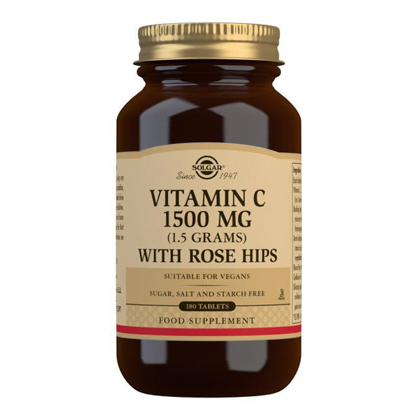 Vitamin C 1500 mg (1.5 grams) with Rose Hips Tablets - Pack of 180 (4743843283003)