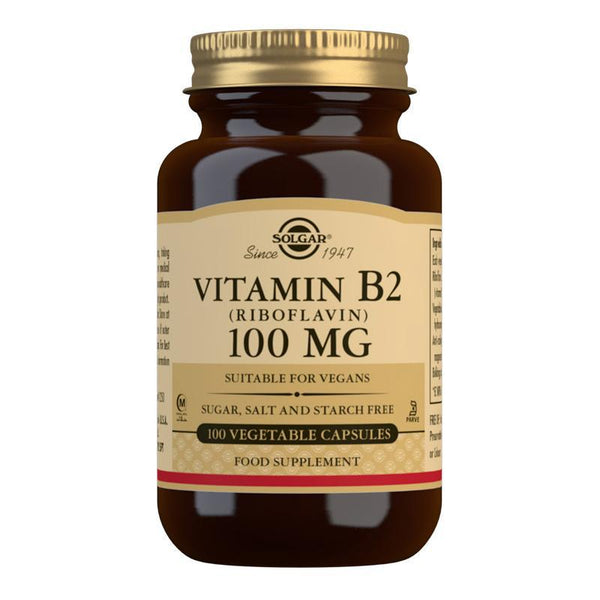 Vitamin B2 (Riboflavin) 100 mg Vegetable Capsules  - Pack of 100 (4743844659259)