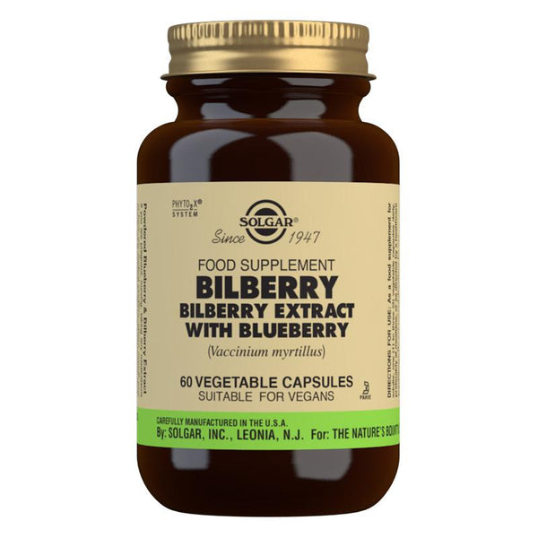 Solgar Bilberry Berry Extract with Blueberry Vegetable Capsules - Pack of 60 (4743849377851)