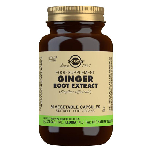 Solgar Ginger Root Extract Vegetable Capsules - Pack of 60 (4743849607227)