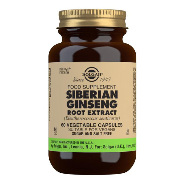 Solgar Siberian Ginseng Root Extract Vegetable Capsules - Pack of 60 (4743850229819)