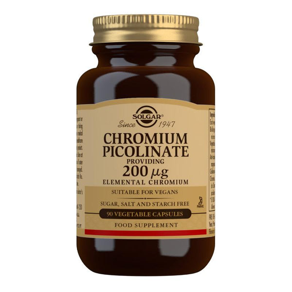 Solgar Chromium Picolinate 200 mcg Vegetable Capsules - Pack of 90 (4743853047867)