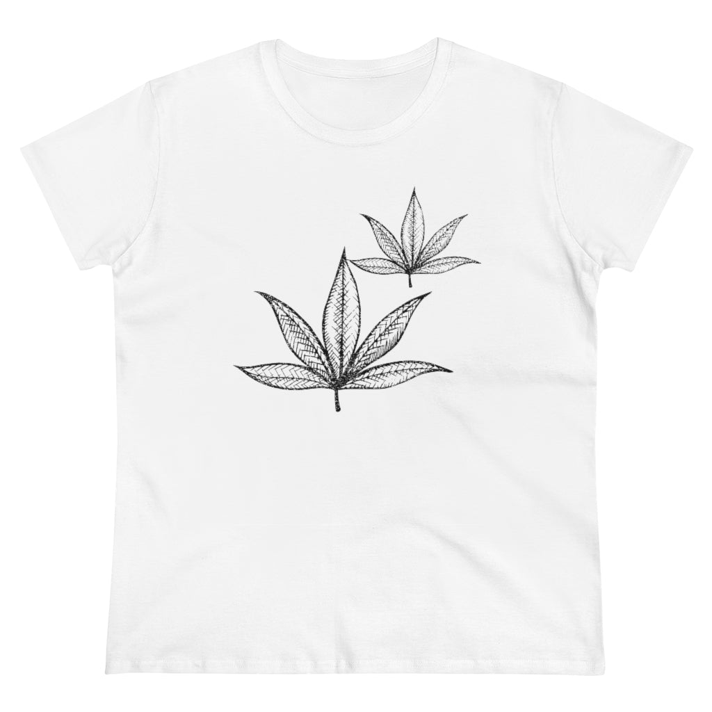 Black Leaf Women's Heavy Cotton Tee - Cannafitshop