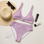 Pink high-waisted bikini - Cannafitshop