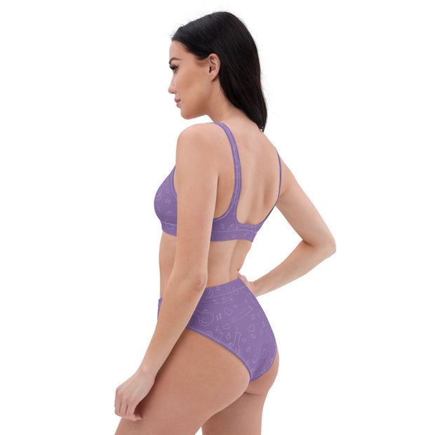 Purple high-waisted bikini - Cannafitshop