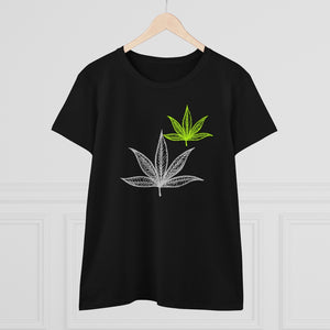 White And Green Leaf Women's Heavy Cotton Tee - Cannafitshop