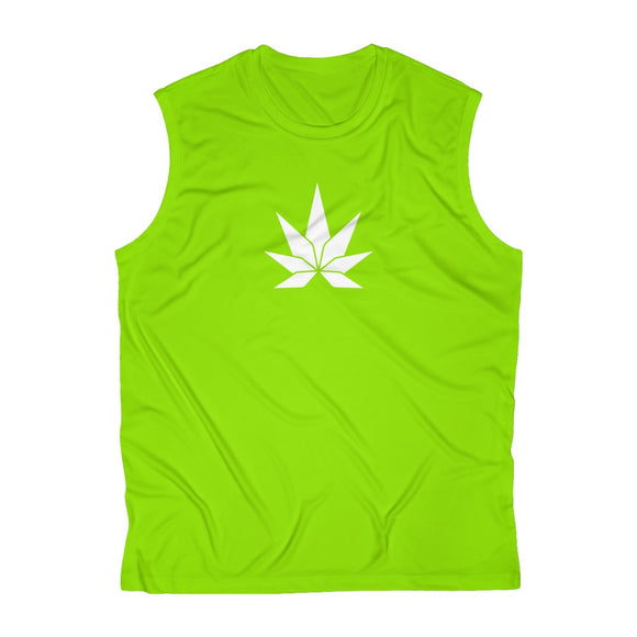 White Leaf Men's Sleeveless Performance Tee - Cannafitshop