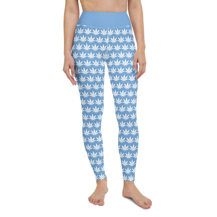 Light Blue Yoga Leggings - Cannafitshop