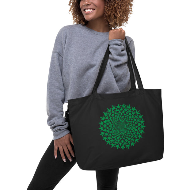 Circle Leaf Large organic tote bag - Cannafitshop