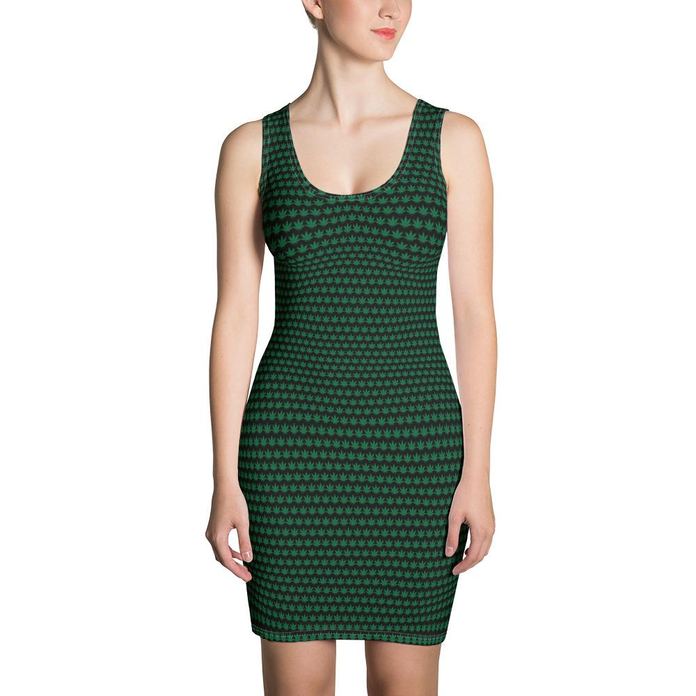 Black And Green Cut & Sew Dress - Cannafitshop