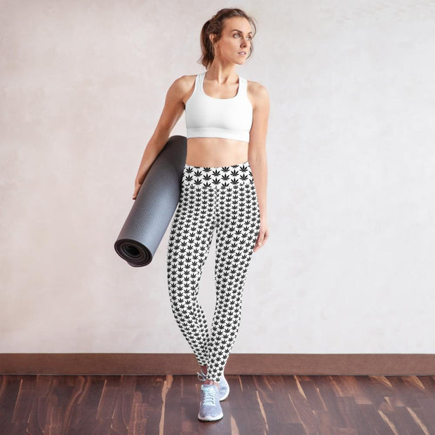Black And White Yoga Leggings - Cannafitshop