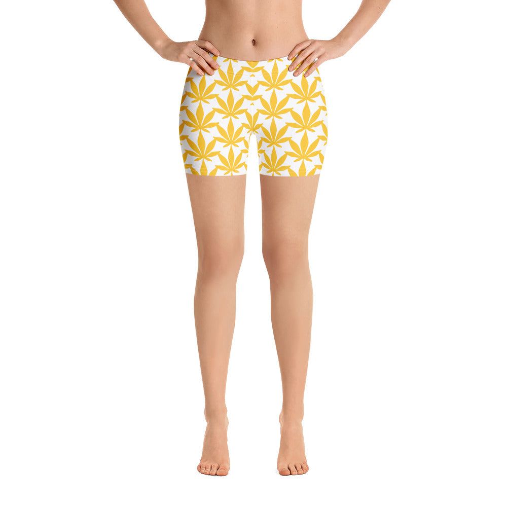 Yellow Leaf Shorts - Cannafitshop