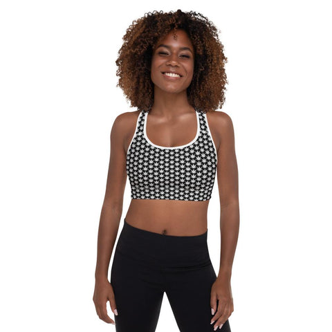 Black And White Padded Sports Bra - CANNAFITSHOP