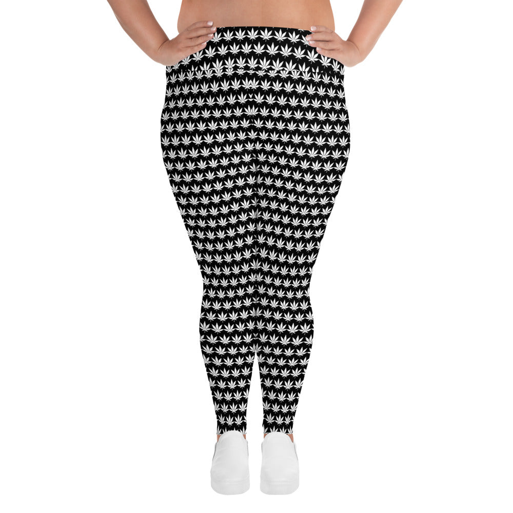 White Leaf All-Over Print Plus Size Leggings - Cannafitshop