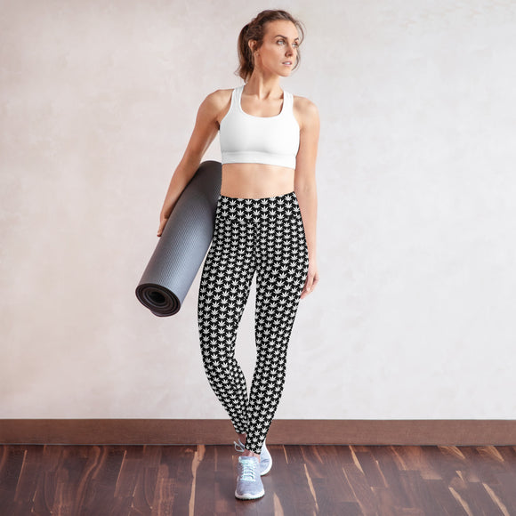 White And Black Yoga Leggings - Cannafitshop
