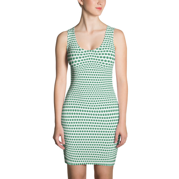 White And Green Cut & Sew Dress - Cannafitshop
