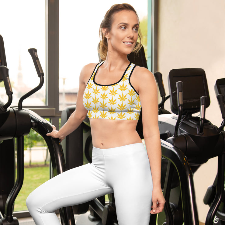Yellow Leaf Padded Sports Bra - Cannafitshop