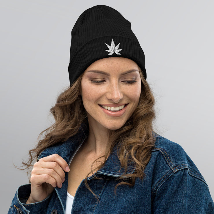 White Leaf Organic ribbed beanie - Cannafitshop