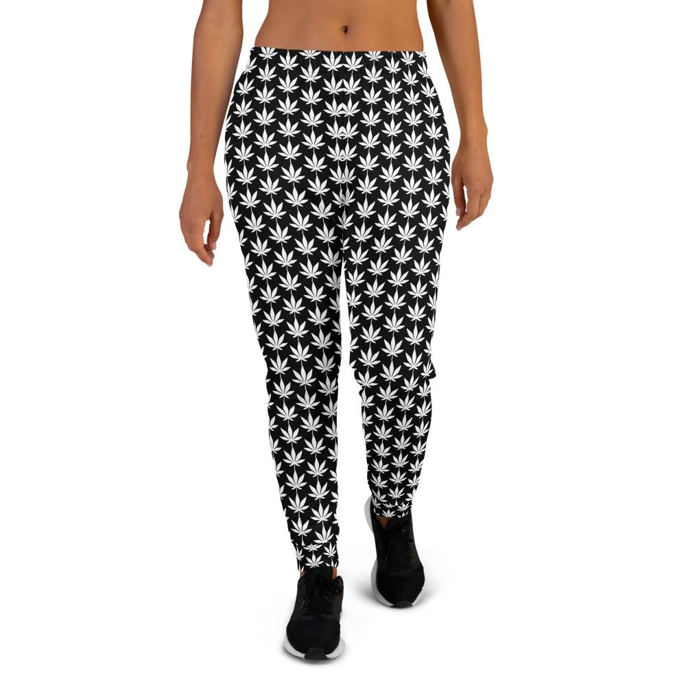 Black And White Women's Joggers - Cannafitshop