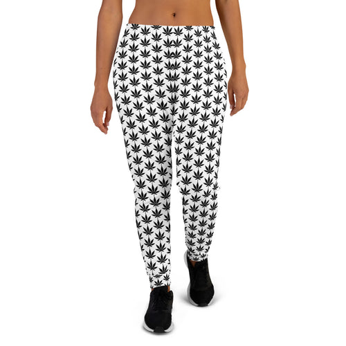 White And Black Women's Joggers - Cannafitshop
