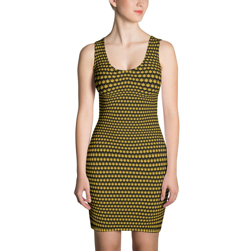 Black And Yellow Cut & Sew Dress - Cannafitshop
