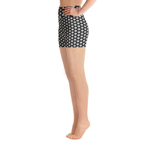 Black And White Yoga Shorts - cannafitshop