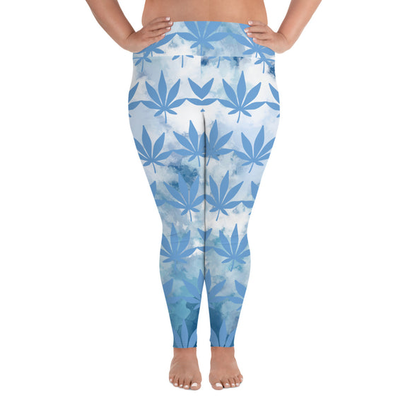 Live Blue All-Over Print Plus Size Leggings - Cannafitshop
