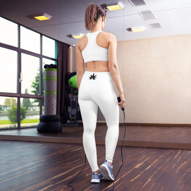 White Yoga Leggings - Cannafitshop