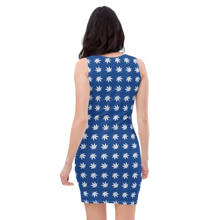 Blue And White Cut & Sew Dress - Cannafitshop