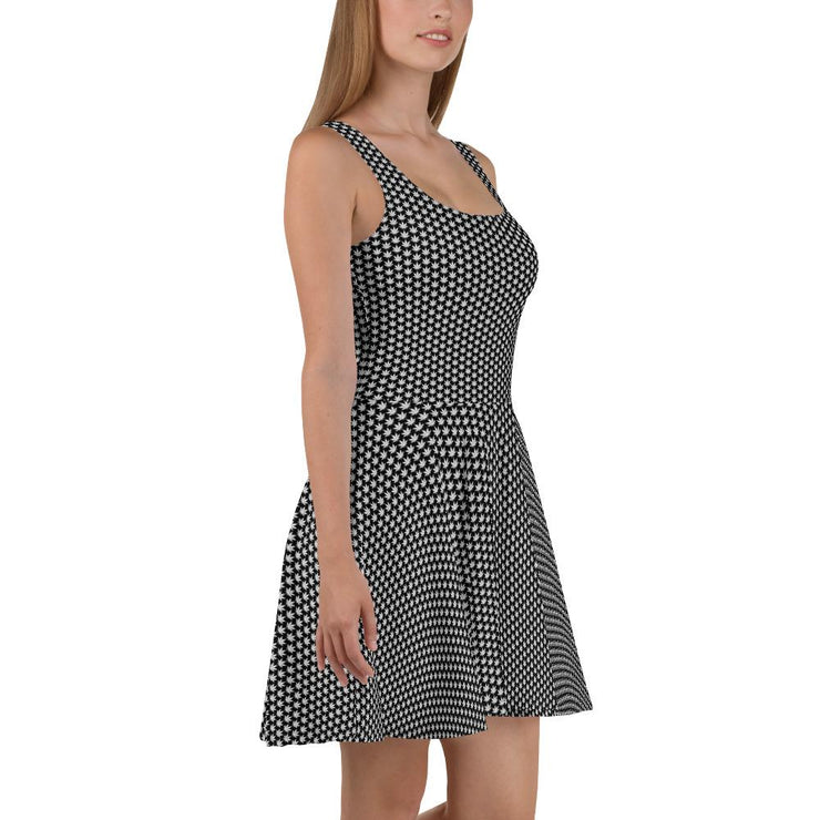 Black And White Skater Dress - Cannafitshop