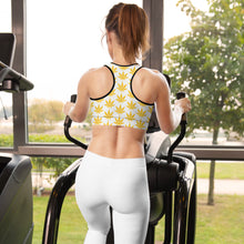 Load image into Gallery viewer, Yellow Leaf Padded Sports Bra - cannafitshop