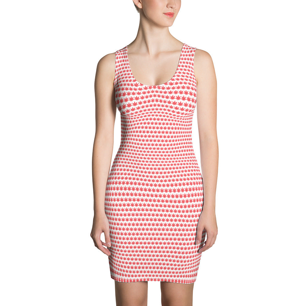 White And Red Cut & Sew Dress - Cannafitshop