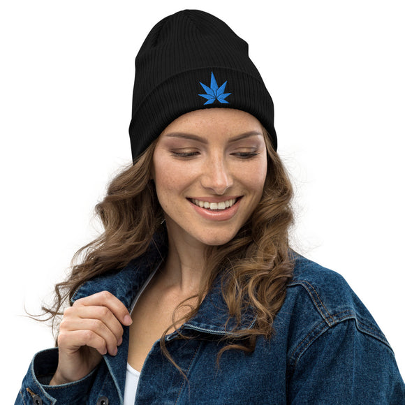 Blue Leaf Organic ribbed beanie - Cannafitshop