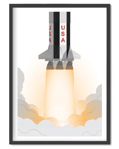 Saturn V Poster - Wolf and Rocket