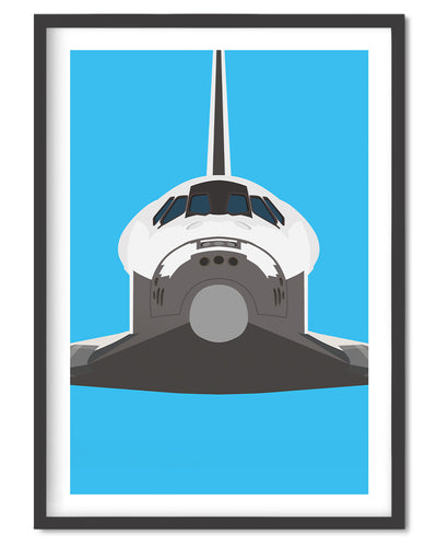 Space Shuttle Poster Print - Wolf and Rocket