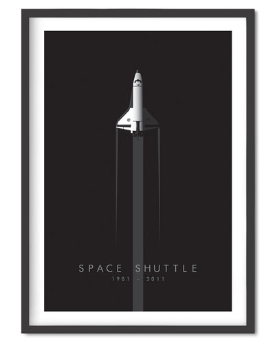 Space Shuttle Anniversary Poster Print - Wolf and Rocket